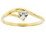 White Cubic Zirconia 18K Yellow Gold Over Sterling Silver Heart Promise Ring 0.37ctw