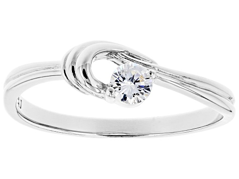 White Cubic Zirconia Rhodium Over Sterling Silver Promise Ring 0.31ctw