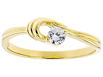 Picture of White Cubic Zirconia 18K Yellow Gold Over Sterling Silver Promise Ring 0.31ctw