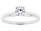 White Cubic Zirconia Rhodium Over Sterling Silver Promise Ring 0.81ctw