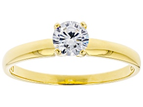 White Cubic Zirconia 18K Yellow Gold Over Sterling Silver Promise Ring 0.81ctw