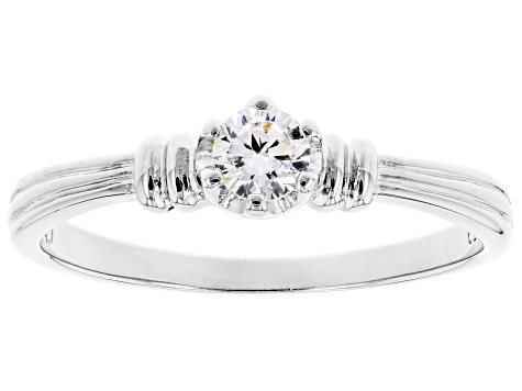 White Cubic Zirconia Rhodium Over Sterling Silver Promise Ring 0.36ctw