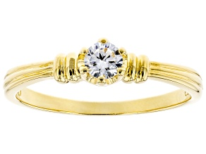 White Cubic Zirconia 18K Yellow Gold Over Sterling Silver Promise Ring 0.36ctw