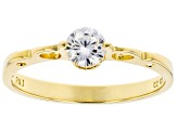 White Cubic Zirconia 18K Yellow Gold Over Sterling Silver Promise Ring 0.55ctw