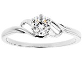 White Cubic Zirconia Rhodium Over Sterling Silver Promise Ring 0.55ctw
