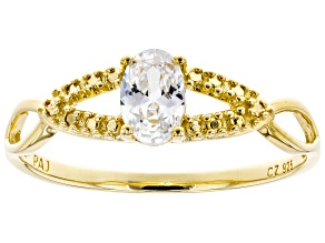 White Cubic Zirconia 18K Yellow Gold Over Sterling Silver Promise Ring 0.72ctw
