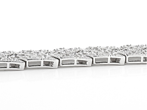 White Cubic Zirconia Rhodium Over Sterling Silver Tennis Bracelet 8.85ctw