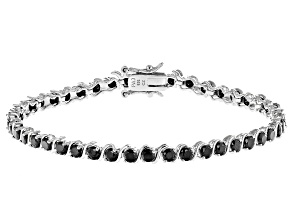 Black Cubic Zirconia Rhodium Over Sterling Silver Tennis Bracelet 7.85ctw