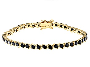 Black Cubic Zirconia 18K Yellow Gold Over Sterling Silver Tennis Bracelet 7.85ctw