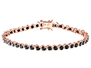 Black Cubic Zirconia 18K Rose Gold Over Sterling Silver Tennis Bracelet 7.85ctw