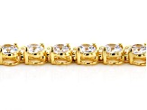 White Cubic Zirconia 18K Yellow Gold Over Sterling Silver Tennis Bracelet 14.17ctw
