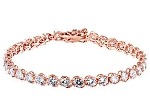 White Cubic Zirconia 18K Rose Gold Over Sterling Silver Tennis Bracelet 14.17ctw
