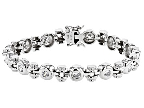 White Cubic Zirconia Rhodium Over Sterling Silver Tennis Bracelet 5.26ctw