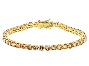 Champagne Cubic Zirconia 18K Yellow Gold Over Sterling Silver Tennis Bracelet 17.80ctw