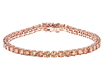 Picture of Champagne Cubic Zirconia 18K Rose Gold Over Sterling Silver Tennis Bracelet 17.80ctw