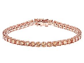 Champagne Cubic Zirconia 18K Rose Gold Over Sterling Silver Tennis Bracelet 17.80ctw