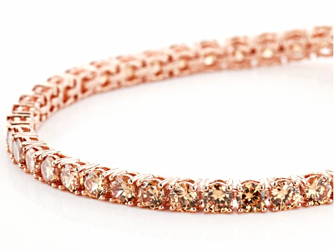Champagne Cubic Zirconia 18K Rose Gold Over Sterling Silver Tennis Bracelet 17.80ctw