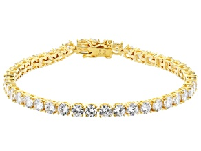 White Cubic Zirconia 18K Yellow Gold Over Sterling Silver Tennis Bracelet 17.41ctw