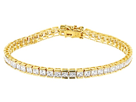 White Cubic Zirconia 18K Yellow Gold Over Sterling Silver Tennis Bracelet 12.69ctw