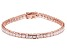 White Cubic Zirconia 18K Rose Gold Over Sterling Silver Tennis Bracelet 12.69ctw