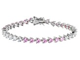Pink And White Cubic Zirconia Rhodium Over Sterling Silver Heart Tennis Bracelet 14.39ctw