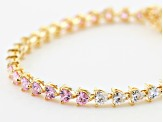 Pink And White Cubic Zirconia 18K Yellow Gold Over Sterling Silver Heart Tennis Bracelet 14.39ctw