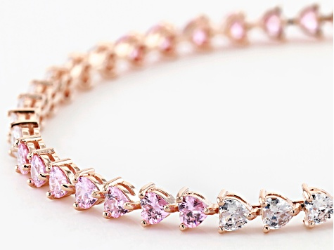 Pink And White Cubic Zirconia 18K Rose Gold Over Sterling Silver Heart Tennis Bracelet 14.39ctw
