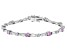 Pink And White Cubic Zirconia Rhodium Over Sterling Silver Tennis Bracelet 10.50ctw