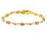 Pink And White Cubic Zirconia 18K Yellow Gold Over Sterling Silver Tennis Bracelet 10.50ctw