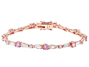 Pink And White Cubic Zirconia 18K Rose Gold Over Sterling Silver Tennis Bracelet 10.50ctw