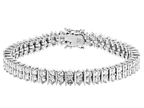 White Cubic Zirconia Rhodium Over Sterling Silver Tennis Bracelet 16.14ctw