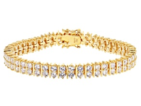White Cubic Zirconia 18K Yellow Gold Over Sterling Silver Tennis Bracelet 16.14ctw