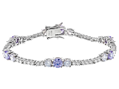 Lavender And White Cubic Zirconia Rhodium Over Sterling Silver Tennis Bracelet 11.84ctw