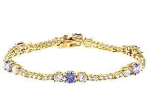 Lavender And White Cubic Zirconia 18K Yellow Gold Over Sterling Silver Tennis Bracelet 11.84ctw