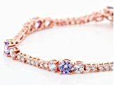 Lavender And White Cubic Zirconia 18K Rose Gold Over Sterling Silver Tennis Bracelet 11.84ctw