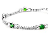 Green And White Cubic Zirconia Rhodium Over Sterling Silver Tennis Bracelet 11.65ctw