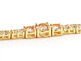 Champagne And White Cubic Zirconia 18K Yellow Gold Over Sterling Silver Tennis Bracelet 12.05ctw