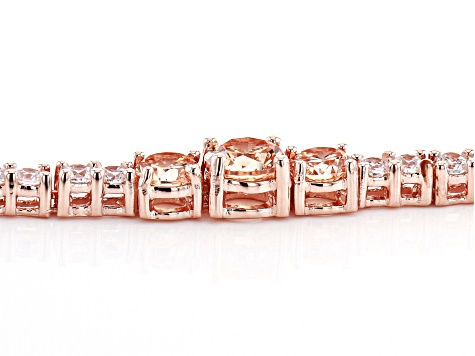 Champagne And White Cubic Zirconia 18K Rose Gold Over Sterling Silver Tennis Bracelet 12.05ctw