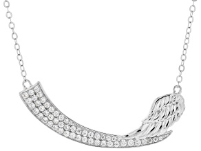 White Cubic Zirconia Rhodium Over Sterling Silver Angel Wing Necklace 1.39ctw