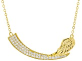 White Cubic Zirconia 18K Yellow Gold Over Sterling Silver Angel Wing Necklace 1.39ctw