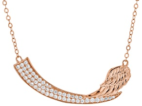 White Cubic Zirconia 18K Rose Gold Over Sterling Silver Angel Wing Necklace 1.39ctw