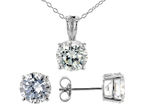 White Cubic Zirconia Rhodium Over Sterling Silver Pendant With Chain and Earrings 8.91ctw