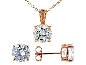 White Cubic Zirconia 18K Rose Gold Over Sterling Silver Pendant With Chain and Earrings 8.91ctw