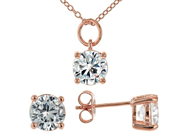 Picture of White Cubic Zirconia 18K Rose Gold Over Sterling Silver Pendant With Chain and Earrings 6.55ctw