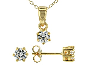 White Cubic Zirconia 18K Yellow Gold Over Sterling Silver Pendant With Chain And Earrings 1.21ctw
