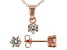 White Cubic Zirconia 18K Rose Gold Over Sterling Silver Pendant With Chain And Earrings 1.21ctw