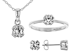 White Cubic Zirconia Rhodium Over Silver Pendant With Chain, Ring And Earrings 3.24ctw