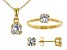 White Cubic Zirconia 18K Yellow Gold Over Silver Pendant With Chain, Ring And Earrings 3.24ctw