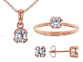 White Cubic Zirconia 18K Rose Gold Over Silver Pendant With Chain, Ring And Earrings 3.24ctw