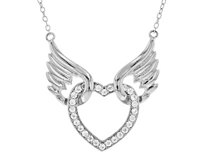 White Cubic Zirconia Rhodium Over Sterling Silver Angel Wing Heart Necklace 0.75ctw